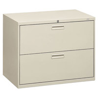 HON 582LQ 500 Series Light Gray Two-Drawer Lateral Filing Cabinet - 36 inch x 19 1/4 inch x 28 3/8 inch