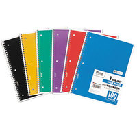 Mead 05514 10 1/2 inch x 7 1/2 inch Assorted Color Legal Rule 1 Subject Spiral Bound Notebook - 100 Sheets
