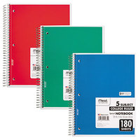 Mead 05682 10 1/2 inch x 8 inch Assorted Color College Rule 5 Subject Perforated Spiral Bound Notebook - 180 Sheets