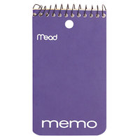 Mead 45354 5 inch x 3 inch Assorted Color College Rule Wirebound Memo Book - 60 Sheets