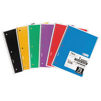 Mead 05512 10 1/2 inch x 7 1/2 inch Assorted Color College Rule 1 Subject Perforated Spiral Bound Notebook - 70 Sheets