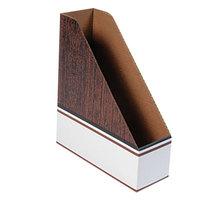 Fellowes 07224 4 inch x 11 inch x 12 3/4 inch Wood Grain Corrugated Cardboard Magazine File - 12/Case