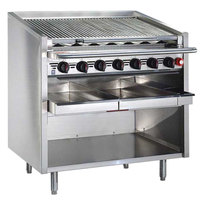 MagiKitch'n FM-SMB-636-H 36 inch Natural Gas High Output Lava Rock Charbroiler with Open Base - 140,000 BTU
