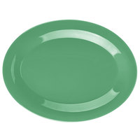 GET OP-950-FG Diamond Mardi Gras 9 3/4 inch x 7 1/4 inch Rainforest Green Oval Melamine Platter - 24/Case