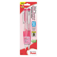Pentel PD277TBP2PBC Pink Ribbon 0.7mm Twist-Erase CLICK HB Lead #2 Mechanical Pencil - 2/Pack
