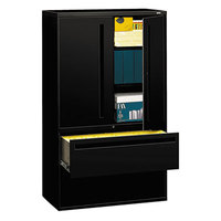 HON 795LSP 700 Series Black Storage Cabinet with Two Lateral Filing Drawers - 42 inch x 19 1/4 inch x 67 inch