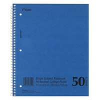Mead 06552 11 inch x 8 1/2 inch Blue College Rule 1 Subject DuraPress Cover Notebook - 50 Sheets