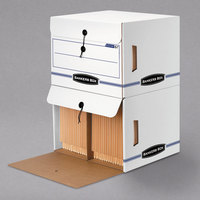 Bankers Box 00061 15 1/4 inch x 13 1/2 inch x 10 3/4 inch White/Blue End-Tab File Storage Box with Drop-Front Lid - 12/Case