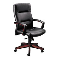HON 5001NSS11 5000 Series Black Leather High Back Executive Swivel/Tilt Chair with Casters