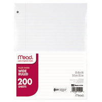 Mead 15200 8 inch x 10 1/2 inch White Pack of Wide Rule Filler Sheet Paper - 200/Sheets