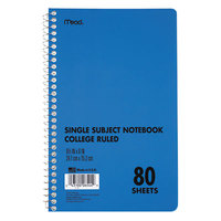 Mead 06544 9 inch x 6 inch Blue College Rule 1 Subject DuraPress Cover Notebook - 80 Sheets
