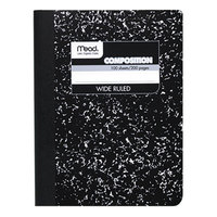 Mead 09910 9 3/4 inch x 7 1/2 inch Black Marble Wide Rule 1 Subject Composition Book - 100 Sheets