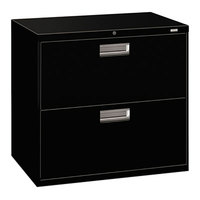 HON 672LP 600 Series Black Two-Drawer Lateral Filing Cabinet - 30 inch x 19 1/4 inch x 28 3/8 inch