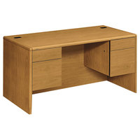 HON 10771CC 10700 Series 60 inch x 30 inch x 29 1/2 inch Harvest 3/4 Height Double Pedestal Desk