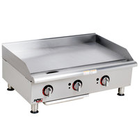 APW Wyott GGM-36i Workline 36 inch Countertop Griddle with Manual Controls and 2 Safety Pilots - 75,000 BTU