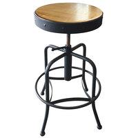 Holland Bar Stool 910BWNAT Black Wrinkle Steel Height Adjustable Stool with Natural Finish Seat