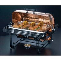 American Metalcraft MESA72C 8 Qt. Rectangular Roll Top Chafer with Hammered Copper Cover