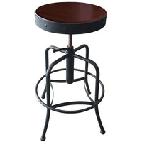 Holland Bar Stool 910BWDC Black Wrinkle Steel Height Adjustable Stool with Dark Cherry Finish Seat