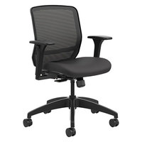 HON QTMMY1ACU10 Quotient Series Black Ilira-Stretch M4 Mesh Back Mid Back Chair with Casters