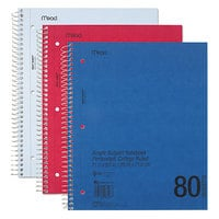 Mead 06548 11 inch x 8 1/2 inch Assorted Color College Rule 1 Subject DuraPress Cover Notebook - 80 Sheets
