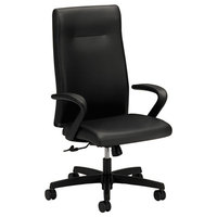 HON IE102SS11 Ignition Series Black Leather High Back Executive Chair with Casters