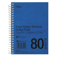Mead 06542 7 inch x 5 inch Blue College Rule 1 Subject DuraPress Cover Notebook - 80 Sheets