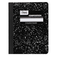 Mead 09932 9 3/4 inch x 7 1/2 inch Black Marble College Rule 1 Subject Composition Book - 100 Sheets