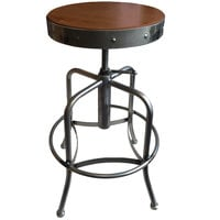 Holland Bar Stool 910CLMED Clear Coat Steel Height Adjustable Stool with Medium Finish Seat