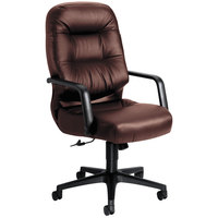 HON 2091SR69T Pillow-Soft Burgundy Executive Leather High-Back Swivel Chair with Arms