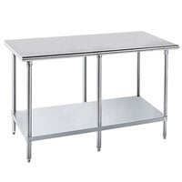 Advance Tabco GLG-2412 24 inch x 144 inch 14 Gauge Stainless Steel Work Table with Galvanized Undershelf