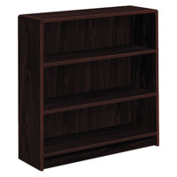 HON 1892N 1890 Series Mahogany 3 Shelf Laminate Wood Bookcase - 36 inch x 11 1/2 inch x 36 1/8 inch
