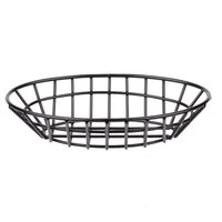 Clipper Mill by GET 4-34412 9 3/4 inch x 6 1/4 inch Black Poly Coated Iron Oval Wire Grid Basket