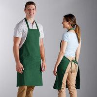 Choice Kelly Green Poly-Cotton Bib Apron with 2 Pockets - 34 inchL x 32 inchW