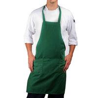 Choice Kelly Green Full Length Bib Apron with Pockets - 30 inchL x 34 inchW