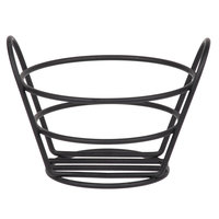 Clipper Mill by GET 4-33780 5 3/8 inch Black Powder Coated Iron Round Wire Bucket Basket