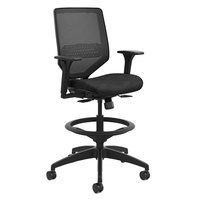 HON SVSM1ALCO10 Solve Series Black Mesh Back Task Stool with Arms and Padded Seat