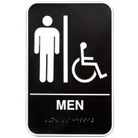 Vollrath 5631 Traex Handicap Accessible Men's Restroom Sign with Braille - Black and White, 6 inch x 9 inch
