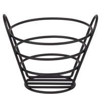 Clipper Mill by GET 4-33782 6 1/4 inch Black Powder Coated Iron Round Wire Bucket Basket