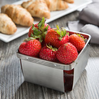 Clipper Mill by GET 4-80828 4 1/2 inch Stainless Steel Square Berry Basket