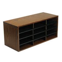 Fellowes 25400 Medium Oak 12-Section Particle Board Desktop Sorter - 29 inch x 11 7/8 inch x 12 15/16 inch