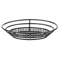 Clipper Mill by GET 4-38804 11 inch x 8 inch Black Poly Coated Iron Oval Wire Basket with Raised Grid Base