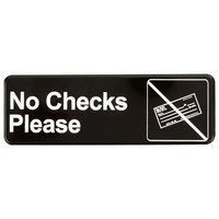 Vollrath 4520 Traex® No Checks Please Sign - Black and White, 9 inch x 3 inch