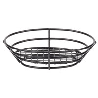Clipper Mill by GET 4-38808 8 inch x 6 inch Black Poly Coated Iron Oval Wire Basket with Raised Grid Base