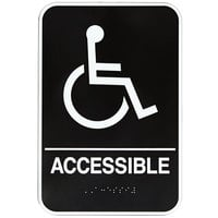 Vollrath 5632 Traex Handicap Accessible Sign with Braille - Black and White, 6 inch x 9 inch