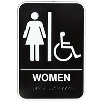 Vollrath 5630 Traex Handicap Accessible Women's Restroom Sign with Braille - Black and White, 6 inch x 9 inch