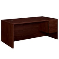 HON 10585RNN 10500 Series 72 inch x 36 inch x 29 1/2 inch Mahogany L or U Right 3/4 Height Pedestal Desk