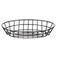 Clipper Mill by GET 4-34418 12 inch x 8 1/2 inch Black Poly Coated Iron Oval Wire Grid Basket