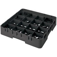 Cambro 16S1114110 Camrack 11 3/4 inch High Customizable Black 16 Compartment Glass Rack