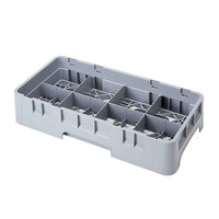 Cambro 8HS800151 Soft Gray Camrack Customizable 8 Compartment Half Size 8 1/2 inch Glass Rack