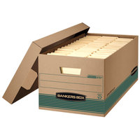 Fellowes 1270101 Banker's Box 12 inch x 24 inch x 10 inch Extra Strength Kraft Letter File Storage Box with Lid - 12/Case